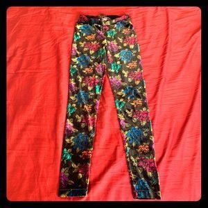 Vintage BETSEY JOHNSON Velvet Floral Leggings XS